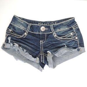 Rue 21 raw hem cuffed bling jean shorts